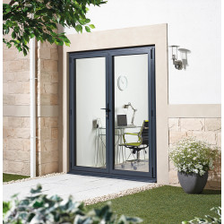 Aluvu External French Door Pre-finished Grey
