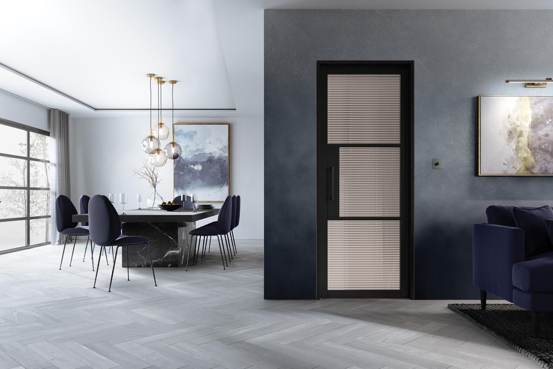 Black Internal Door with Reeded Glass