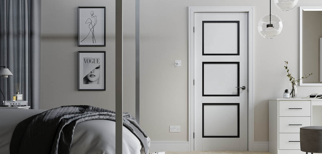 Internal White door with three square panels framed black