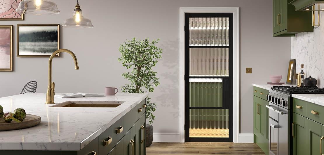 Black door with reeded glass panels